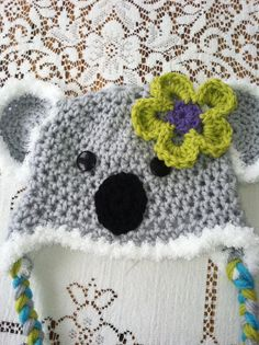 Koala hat boy or girl removable flower by MarysMoxee on Etsy, $22.00