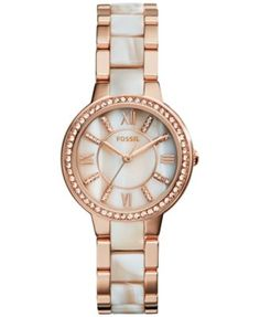 Fossil Women's Virginia Shimmer Horn and Rose Gold-Tone Stainless Steel Bracelet Watch 30mm ES3716