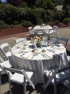 Ivory linens, ivory napkins. Plated dinner place setting.