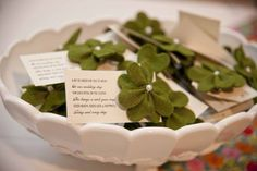 Clover wedding favors.  Now that really is a nice keepsake, well I think so