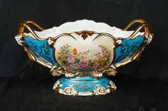 French Sevres Porcelain Vase Floral Hand Painted Dish