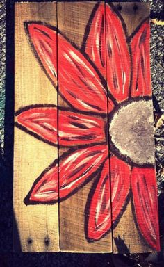 Red Pallet Daisy Sign by CharmingWillows on Etsy, $40.00