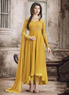 Party Wear Yellow Georgette Embroidery Suits