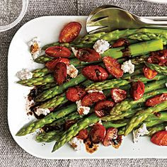 I'm thinking this might need to be added to the Easter dinner menu! Asparagus with Balsamic Tomatoes | MyRecipes.com