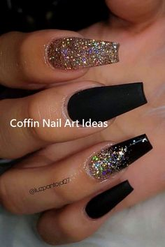 The Most Beautiful Black Winter Nails Ideas Here are some cute winter nail designs between black and silver glitter nails, black and gold glitter nails, and black marble nails designs. Black Gold Nails, Silver Glitter Nails, Black Marble Nails, Gold Gold, Nail Black, Cute Black Nails, Black Coffin Nails, Glitter Nail Art, Nails With Glitter Tips