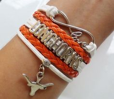 LONGHORNS Bracelet, Texas sports, Volleyball, Basketball, football Cheerleader Bracelet, cheer bracelet Team sports gifts orange/white color