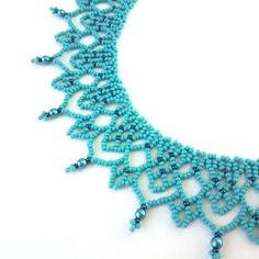 Turquoise seed bead lace necklace Beadweave collar necklace Netted beadwork jewelry in boho s. - Turquoise seed bead lace necklace Beadweave collar necklace Netted beadwork jewelry in boho style S - Beaded Necklace Patterns, Lace Necklace, Seed Bead Necklace, Collar Necklace, Beading Patterns, Necklace Ideas, Necklace Designs, Necklace Tutorial, Beading Ideas
