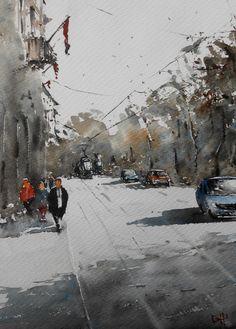 """Duncan Halleck: """"Place Royale I"""" 28x38cm, April 2016"""
