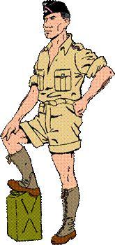 Soldado de una división Panzer del Africa Korps en uniforme de campaña 1941-43.