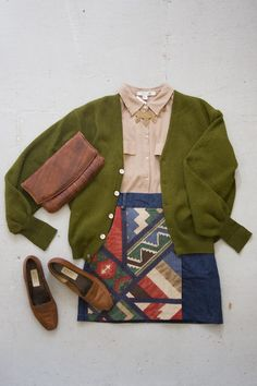 OUTFIT! Tan short sleeve blouse, vintage Alpaca cardigan, redesigned vintage denim skirt by Community Service, vintage clutch and loafers, and a Laurel Hill necklace.