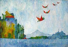 """Bernardo CRESPIN : """"Las Palomitas"""" ; 1976 ; oleo sobre tela ; 67cm x 94cm ; colección MDAA (adquirido de la galería Humberto Saravia)"""