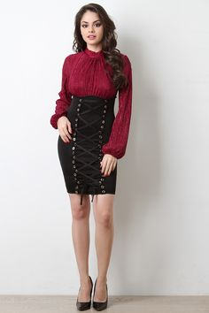 FREE SH & Easy Returns! Shop Glitter Ruched Mock Neck Twofer Dress featuring ruched ribbed knit top, glitter thread accents, mock neck, bishop sleeves, and self-tie lace up skirt.