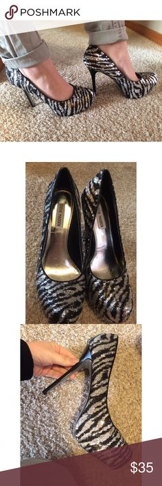 Steve Madden Sequin Stilettos Size 10 all over sequin zebra print heels! One heel is a little damaged as pictured. I've had these for a couple years and they are just too big for me ): I wish my feet would grow but that's not possible! My loss is your gain, willing to trade, make me an offer!! Steve Madden Shoes Platforms