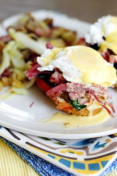 Irish Eggs Benedict with Corned Beef and Cabbage Hash - Fabtastic Eats