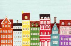 Copenhagen City Houses Scandinavian Skyline Design Colorful Illustration Art Print Poster, Nursery, Bright, Rainbow, Bedroom. $25.00, via Etsy.