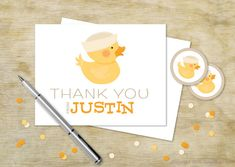 Boy Ducky Note Card | Personalized Birthday Thank You Cards for Kids | Custom Thank You Card Set | Yellow Rubber Ducky