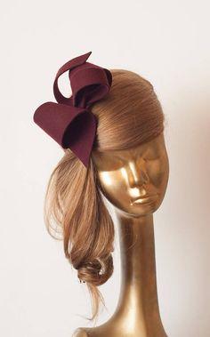 Burgundy Party Bow Fascinator for Women Burgundy Fascinator, Ivory Fascinator, Wedding Fascinators, Fascinator Headband, Headpieces, Millinery Hats, Sinamay Hats, Metal Headbands, Fancy Hats