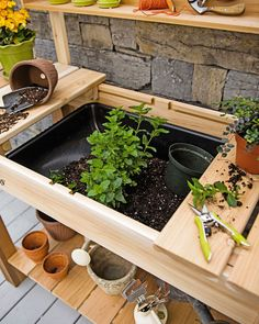 Potting Bench – Cedar Potting Table with Soil Sink and Shelves - All For Garden Potting Bench With Sink, Outdoor Potting Bench, Pallet Potting Bench, Potting Tables, Outdoor Sinks, Outdoor Plants, Outdoor Gardens, Outdoor Plant Table, Garden Sink