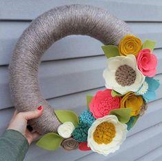 Spring wreath yarn wreath wildflower wreath yarn by madymae