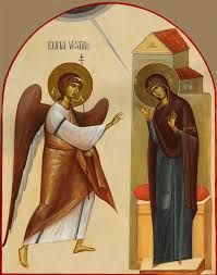 Annunciation by Ioan-si-Camelia-Popa-Otopeni Religious Images, Religious Icons, Religious Art, Byzantine Icons, Byzantine Art, Italian Renaissance Art, Jesus Art, Angel Statues, Art Carved