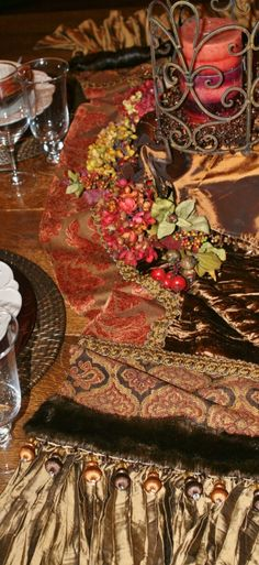 This chocolate brown velvet and terracotta chenille Table Runner with faux mink and beading accents is the perfect Old World Tuscan Home Decor piece!