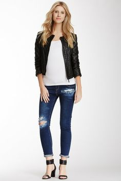 Indigo Destroyed Denim Underbelly Skinny Jean by Madeleine Maternity on @HauteLook