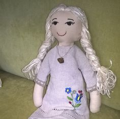 kashubian hand made doll with linen dress by Kaszubjanka on Etsy