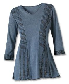 Denim Cutwork Tunic -size L.... I'd like to try this with T-shirt / T-shirt fabric.