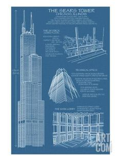 Chicago, Illinois - Willis Tower Blue Print - Lantern Press Artwork (Art Print Available) Poster Art, Poster Prints, Art Prints, Blue Prints, Art Illustration Vintage, Blueprint Art, Design Food, Design Typography, Stock Art