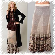 """FREE PEOPLE CROCHET MAXI SKIRT $268 SMALL This ombré, crocheted maxi skirt features a covered elastic waistband and crocheted-lace trim at the hem.  * 33"""" long. * Fabrication: Crochet. * 100% cotton. * Hand wash. * Imported. Free People Skirts Maxi"""