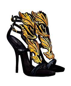 Guiseppe Zanotti iconic sandals fashion illustration