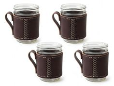 Set of 4 - Cross Stitch with Handle :: Holdster USA Mason Jar Sleeve  Great and cute idea