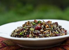 Serious Salads: Wild Rice Salad with Cranberries and Pecans. I used this black wild rice I had that made WAY more than I thought it would, so I'm going to be eating this salad every day for the next two weeks, probably.