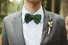 green quilted bow tie -- perfect for a holiday wedding or party // photo by JulieHarmsenPhotography.com