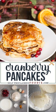 Homemade Buttermilk Pancakes with fresh cranberries and a hint of orange zest are golden brown and crispy on the outside, incredibly fluffy and moist on the inside, and have just the right amount of tart! #pancakes #buttermilk #cranberry #recipe #easy #fluffy #homemade #best
