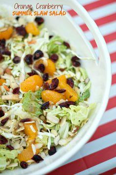 Orange Cranberry Summer Slaw Salad | ReluctantEntertainer.com