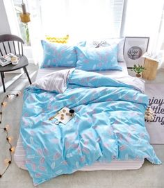 Návliečky na postel modrej farby Comforters, Blanket, Bed, Home, Creature Comforts, Blankets, Stream Bed, Ad Home, Homes
