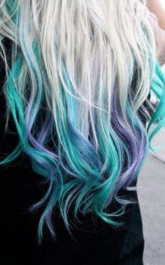 Mermaid ideas for halloween, mermaid hair blue dip dye hair, blonde dip dyed hair Teal Hair, Bright Hair, Colorful Hair, Turquoise Hair, Violet Hair, White Hair, Dye My Hair, Blonde Dip Dyed Hair, Blonde And Blue Hair