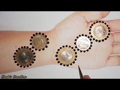 Design Discover New Easy Simple and Stylish Gol Tikki Mehndi Design with Coins Mehandi Designs For Kids, Mehandi Design For Hand, Finger Henna Designs, Mehndi Designs Book, Modern Mehndi Designs, Mehndi Designs For Beginners, Beautiful Henna Designs, Mehndi Designs For Fingers, Heena Design