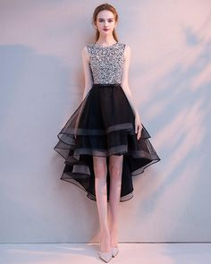 Scoop Neck High Low Prom Dress with Beading Girls Graduation Party Gown Anna Bridal Studio High Low Prom Dresses, Formal Dresses For Teens, Grad Dresses, Homecoming Dresses, Short Dresses, Lace Evening Dresses, Elegant Dresses, Pretty Dresses, Beautiful Dresses