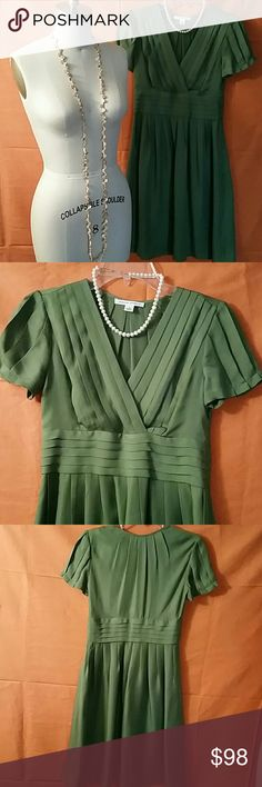Banana Republic Silk Green Dress NWOT Delicate and elegant. Great for summer wedding. NWOT excellent condition no signs of wear, front top panel self lined, 20's inspired, side zip, flowing pleated skirt This one is beautiful, ethereal. Banana Republic Dresses