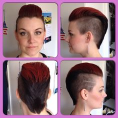 Today we go pompadour! Cut and color: Me!   #pompadour #sidecut #undercut #mohawk #redhawk #hair #haircut #haircolor #girlhawk #girlswithmohawk #womenshorthair #girlswithshorthair