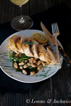 Roast Chicken with White Beans and Spinach