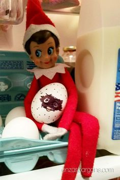 "62 Funny Ideas for Elf On the Shelf Make the elf get all wrapped up in wrapping paper. Set up a power-lifting elf with some marshmallows and a toothpick. A great way to use Littlest Pet Shop or other puppy toys is to make the elf ""walk"" them with a string or pipe cleaners for …"