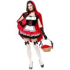 bb16f83054 Little Red Riding Hood Costume Adult Sexy Halloween Fancy  Dress Hood Costume Red