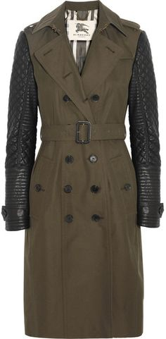 BURBERRY Leather Sleeved Cotton Twill Trench Coat - Lyst