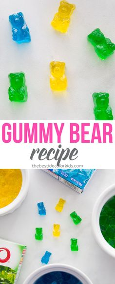 Homemade Gummy Bear Recipe – this recipe can be made 2 ways! With fruit juice or… Homemade Gummy Bear Recipe – this recipe can be made 2 ways! With fruit juice or with JELLO. Kids love these and they are so easy to make! Jello Gummy Bears, Gummy Bear Recipe With Jello, Sugar Free Gummy Bears, Best Gummy Bears, Gummies Recipe Jello, Gummy Candy Recipe Jello, Homemade Gummy Candy Recipe, Gummy Bear Candy, Homemade Gummy Bears