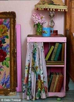 Transform a crate into a side table using #vintage fabric by Sarah Moore