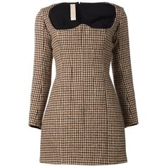 Y / Project tweed bustier dress (19 625 UAH) ❤ liked on Polyvore featuring dresses, brown, short a line dresses, houndstooth dress, long sleeve print dress, square neck dress and longsleeve dress
