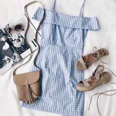 Be the best dressed babe of the bbq in our beach picnic gingham dress (shop link in bio) Classy Outfits, Trendy Outfits, Cute Outfits, Fashion Outfits, Dress Fashion, Fashion Clothes, Spring Summer Fashion, Spring Outfits, Olive Shorts